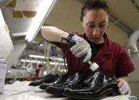 Worker at luxury shoemakers Tod in Italy