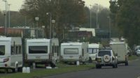 Caravans on roadside