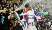 Lewis Hamilton celebrates