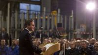 UK Prime Minister David Cameron delivers a speech at JCB World Headquarters in Rocester, central England 28 November 2014