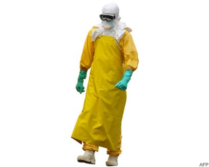 health worker with protective ebola suit