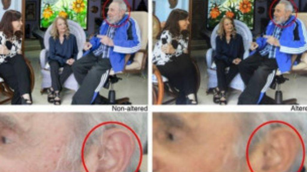 'retoque' em fotos de Fidel para esconder aparelho auditivo