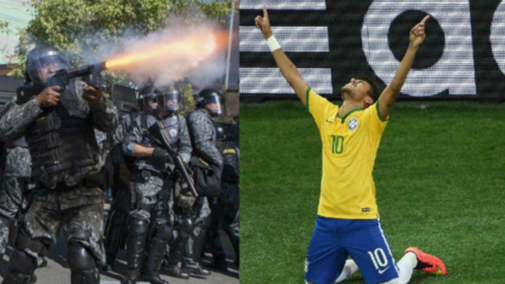 Copa começa com vitória do Brasil em campo e choques nas ruas ...