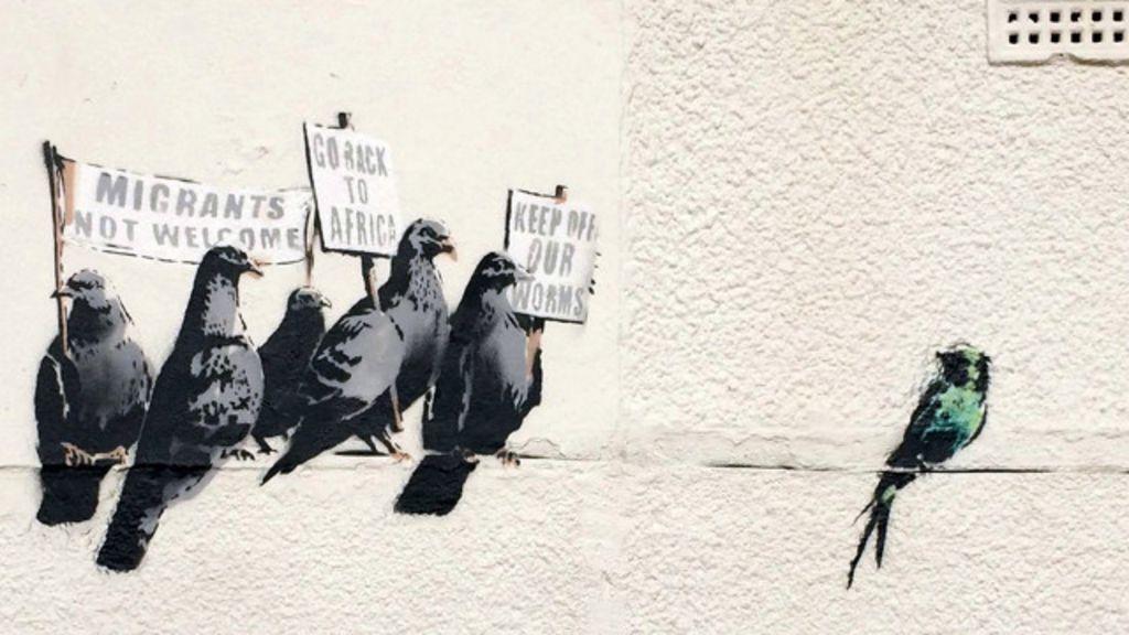 Considerado 'racista', grafite de Banksy é destruído na Inglaterra ...