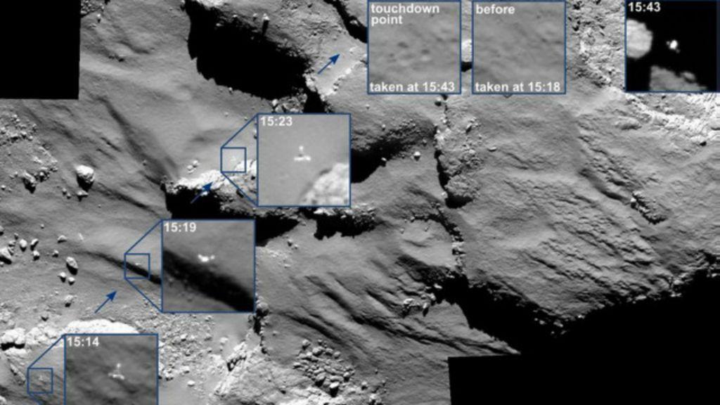Imagens inéditas mostram pouso acidentado do robô Philae em ...