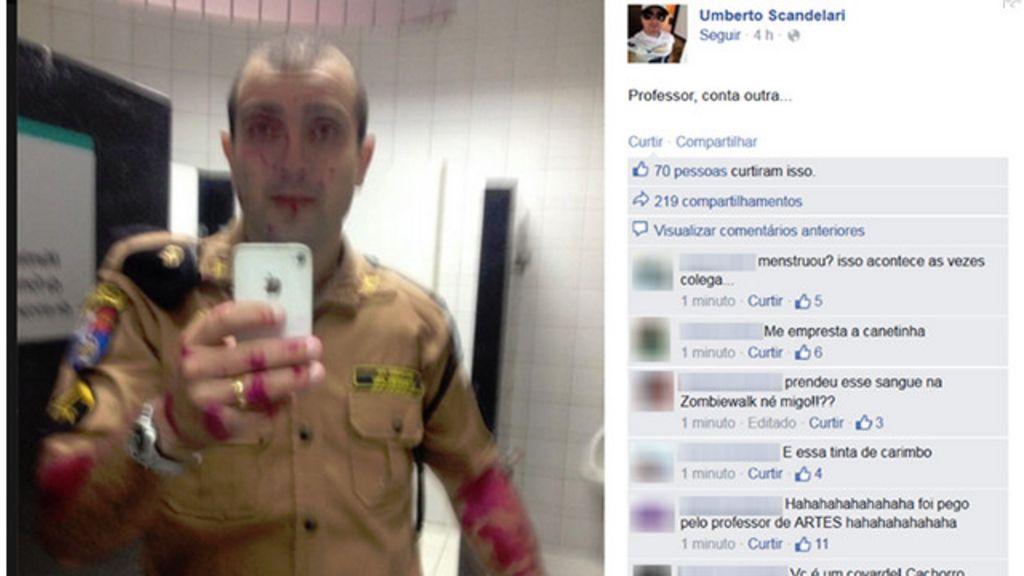 em foto viral de PM após protesto é tinta, afirma Polícia do Paraná