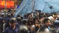 警察要求記者離開中心現場