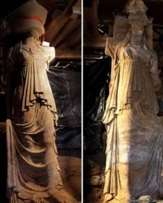 Cariatides encontradas na tumba. Credito: Ministério da Cultura grego