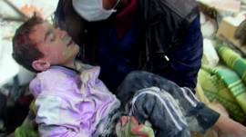 Niño rescatado en Alepo
