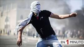 Joven palestino en enfrentamientos con la policía israelí