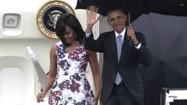 Barack Obama a su llegada a Cuba