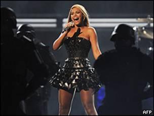 La chanteuse Beyoncé sur scène