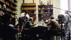 Durante el rojade del documental Comandante de Oliver Stone, 2003. Foto: AP