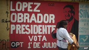Cartel del excandidato presidencial Andrés Manuel López Obrador