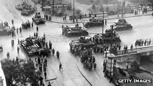 Tanques en la invación soviética de Hungría