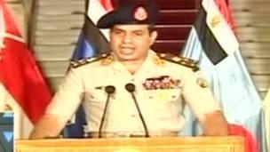 General Abdul Fattah Al-Sisi, líder del Ejército egipcio. TV Grab