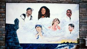 Mural at 656 Sutter Ave., East New York, Brooklyn, 2000. Painter Abdul says that the concept came from the owner of the business: