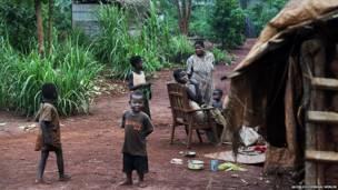 Baadhi ya wakimbizi katika kambi la Batalimo, Jamuhuri ya Afrika ya Kati