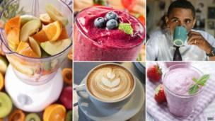 Collage de frutas y café