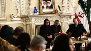 تاریا کرونبرگ، عضو پارلمان اروپا و علی لاریجانی، رئیس مجلس ایران