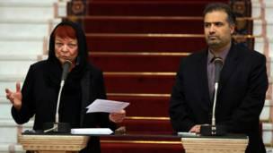 تاریا کرونبرگ، عضو پارلمان اروپا و کاظم جلالی نماینده مجلس ایران