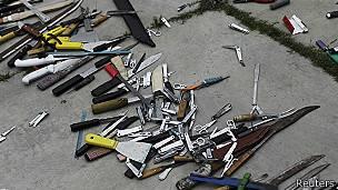 Armas en la cárcel de Tamara, en Tegucigalpa