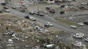 Imagen de un área afectadas por los tornados