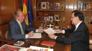 Presidente del Gobierno, Mariano Rajoy  junto al Rey Juan Carlos