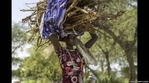 Une déplacée Nuer avec un tas de bois sur sa tête, à Bor, Etat de Jonglei, Soudan du Sud