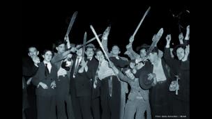 Machetes. Bogotá, 9 de abril de 1948. Archivo fotográfico de Sady González, Biblioteca Luis Ángel Arango.