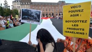 Protesta en Estrasburgo, Francia