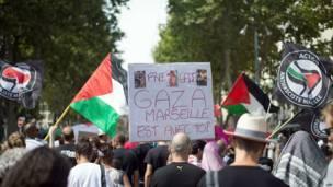 Protesta en Marsella, Francia