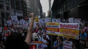 Protesta en Nueva York, EE.UU.