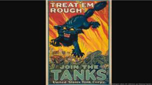 Treat 'em Rough / Join the Tanks United States Tank Corps, United States, 1918, August William Hutaf (1879–1942), color lithograph, 40 × 28 in. The Huntington Library, Art Collections, and Botanical Gardens.