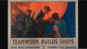 Teamwork Builds Ships, United States, ca. 1918, William Dodge Stevens (1870–1942), color lithograph, 36 × 50 in. The Huntington Library, Art Collections, and Botanical Gardens.