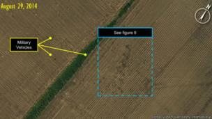 Спутниковый снимок, сделанный по заказу Amnesty International для иллюстрации перемещений российской военной техники на территории Украины