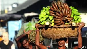 Hombre llevando bananas en Sri Lanka