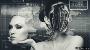 Ilustración de una mujer cíborg