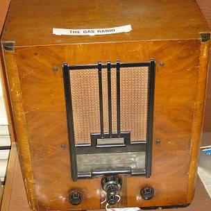 Un modelo de radio a gas del Museo de Gas en Leicester, Inglaterra.
