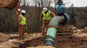 Fracturación hidráulica en proceso en Pensilvania.