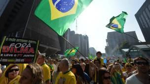 Protesta anti gobierno en Brasil.