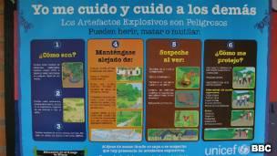 Cartel educativo sobre riesgo de minas