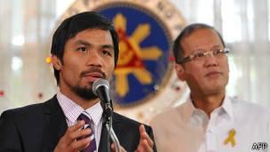 Pacquiao con el presidente de Filipinas