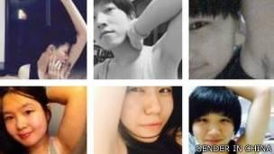 Imágenes de mujeres chinas mostrando sus axilas velludas