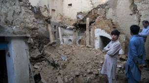 أنقاض منازل في باكستان