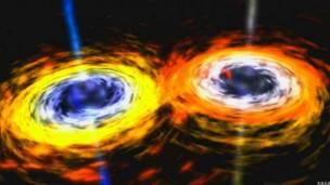 Dos agujeros negros se fusionan