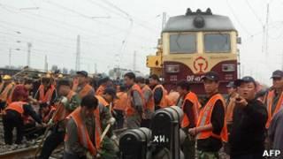Tren en China. Foto de archivo