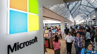 Microsoft muestra su nuevo logo en una de sus tiendas