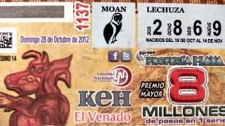 Billete de lotería mexicana sobre profecía maya