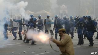 La policía en Delhi